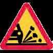 Varningsmärke, stenskott