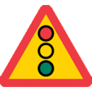 Varningsmärke, flerfärgssignal-trafikljus