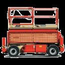 Saxlift, 14,2 m utomhusgående 4-hjulsdriven, batteri/diesel